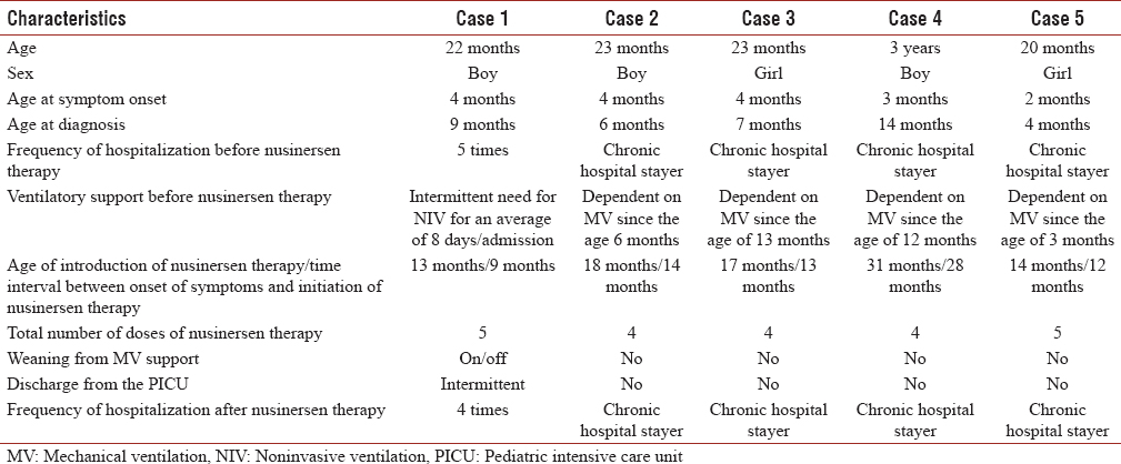 Table 1: Summary of the patients' characteristics and outcomes following nusinersen administration